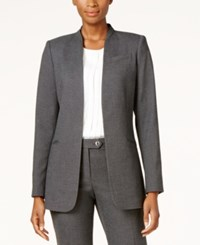 Calvin Klein Open Front Seamed Blazer Black Tin
