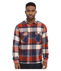 Brixton Archie Long Sleeve Flannel Rust Navy Men's Long Sleeve Button Up Tan