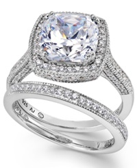Arabella Sterling Silver Ring Set Swarovski Zirconia Bridal Ring And Band Set 7 5 8 Ct. T.W. Clear