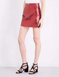 Sandro Metallic Leather Skirt Burgundy