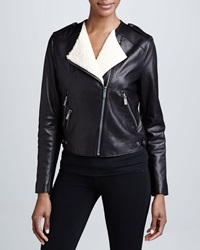 Bcbgmaxazria Leather Moto Jacket With Real Shearling X Small
