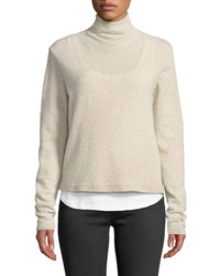 Majestic Wool Cashmere Funnel Neck Double Layer Sweater Sable Chine