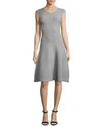 Milly Cap Sleeve Geometric Textured Fit And Flare Dress Gray