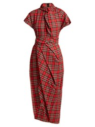 Awake High Neck Draped Tartan Cotton Dress Red Multi