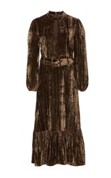 Co Crinkled Leather Belted Dress Brown
