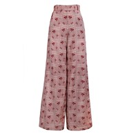 The Bee's Sneeze Red Rectangles With Flowers Palazzo Trousers White Red