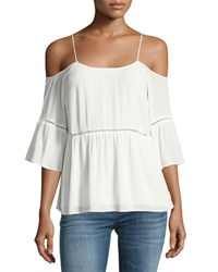 1.State Cold Shoulder Peasant Blouse White