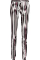 Giambattista Valli Striped Cotton Blend Twill Slim Leg Pants Black