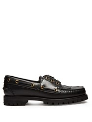 Gucci Pacific Snake Embossed Leather Deck Shoes Black Multi