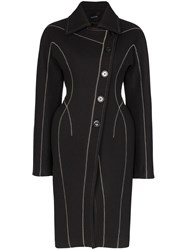 Thierry Mugler Hourglass Stitched Long Coat Black