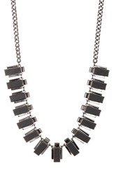 French Connection Faux Leather Inlay Collar Necklace Black