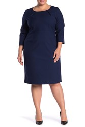 Lafayette 148 New York Pleated Crew Neck Elbow Sleeve Wool Blend Dress Plus Size Galaxy Blu