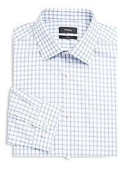 Theory Slim Fit Front Button Dress Shirt Blue Multicolor