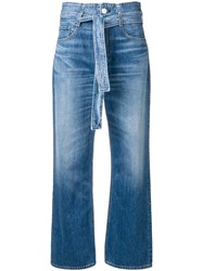 3X1 Belted Bootcut Jeans Blue