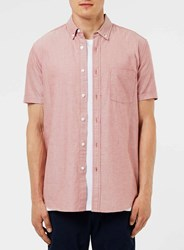 Topman Red And White Oxford Button Down Collar Shirt