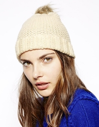 French Connection Faux Fur Turn Up Beanie Hat Brulenatural