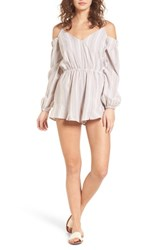 The Fifth Label Voyage Cold Shoulder Romper Sand White