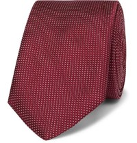 Hugo Boss 6Cm Pin Dot Silk Tie Burgundy