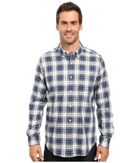 Nautica Long Sleeve Wrinkle Resistant Plaid Shirt Estate Blue Men's Long Sleeve Button Up Navy