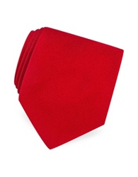 Forzieri Solid Twill Silk Tie Red