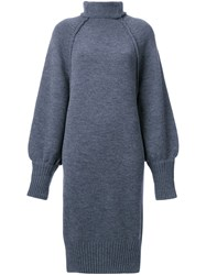 G.V.G.V. Raw Edge 'Funnel Neck' Dress Grey