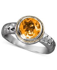 Effy Collection Balissima By Effy Citrine Round Ring 1 5 8 Ct. T.W In Sterling Silver And 18K Gold Orange