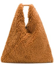 Maison Martin Margiela Mm6 Shearling Oversized Tote Brown