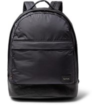 Paul Smith Leather Trimmed Shell Backpack Navy