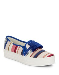 Kate Spade Decker Too Striped Platform Sneakers Multi Colored