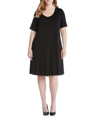 Karen Kane Plus Plus A Line Stretch Jersey Knit Dress Black