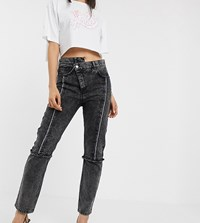 Reclaimed Vintage The 89' Slim Leg Jean With Reworked And Distressed Seams Black