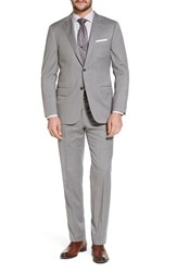 Hickey Freeman Big And Tall Beacon Classic Fit Solid Wool Suit Grey