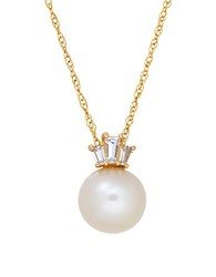 Lord And Taylor 9Mm Round Freshwater Pearl Created White Sapphire 14K Yellow Pendant Necklace Yellow Gold