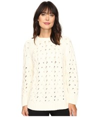 Vince Camuto Long Sleeve Crew Neck Chunky Cable Sweater Antique White Women's Sweater