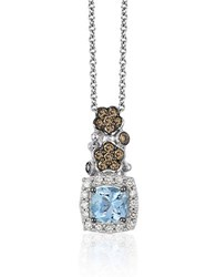 Le Vian Chocolatier Sea Blue Aquamarine Chocolate Diamond And Vanilla Diamond Pendant Necklace