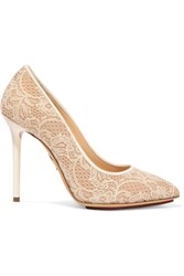 Charlotte Olympia Monroe Satin Trimmed Corded Lace And Leather Pumps Ivory