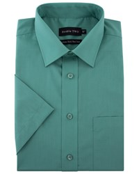 Double Two Men's King Size Short Sleeved Non Iron Cotton Shirt Green