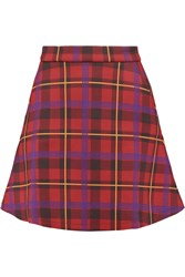 Etre Cecile Plaid Neoprene Mini Skirt Red