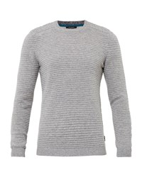 Ted Baker Men's Gridloc Cable Knit Crew Neck Jumper Grey