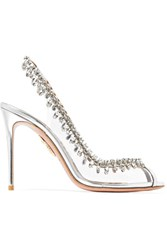 Aquazzura Temptation Embellished Perspex And Leather Slingback Pumps Silver