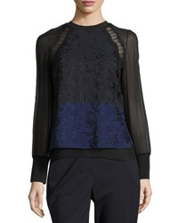 3.1 Phillip Lim Long Sleeve Colorblock Lace And Chiffon Top Medium Blue