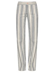 See By Chloe Striped Cotton Twill Trousers Blue Multi