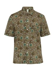 Finamore 1925 Palm Print Short Sleeved Linen Blend Poplin Shirt Green