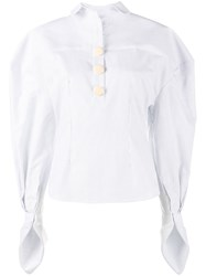 Jacquemus Stripe Puff Sleeve Shirt White