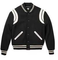 Saint Laurent Leather Trimmed Wool Varsity Jacket Black