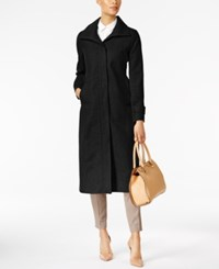 Jones New York Stand Collar Wool Maxi Coat Black