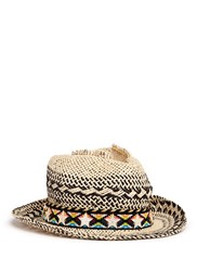 Venna Zircon Star Tribal Band Paper Straw Hat Multi Colour