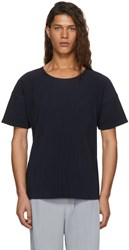 Homme Plisse Issey Miyake Navy Pleated T Shirt