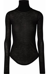 Frances De Lourdes Lucie Slub Cashmere And Silk Blend Turtleneck Top Black