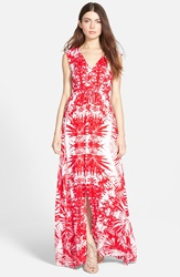 Plenty By Tracy Reese Sleeveless Slit Maxi Dress Cherry White Tribal Foilage
